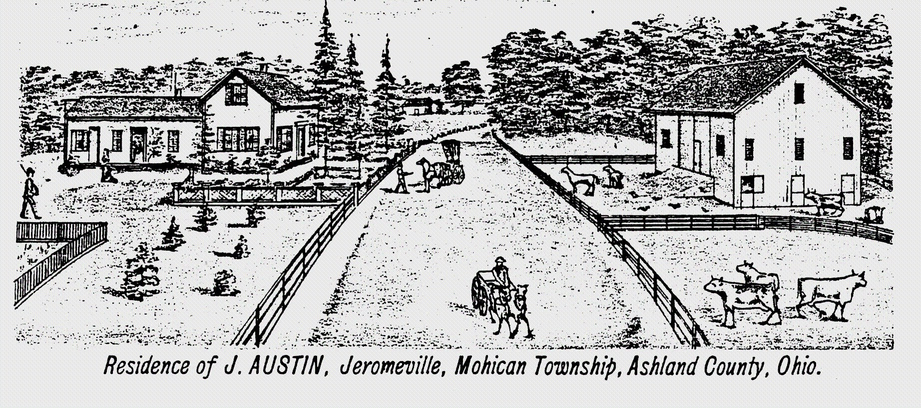 Artist's drawing of the J. Austen residence, Jeromesville, Ohio